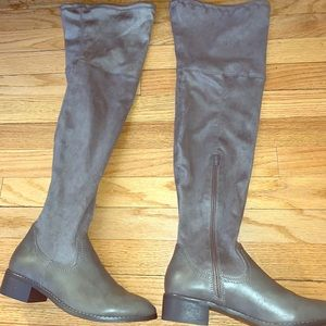 Thigh high gray suede boots